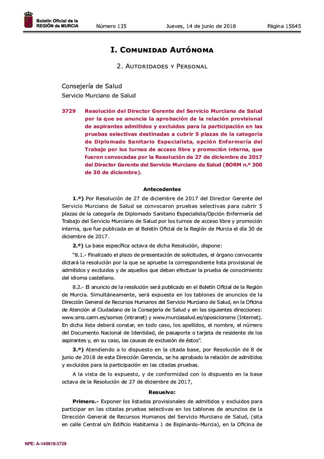 14/06/2018. Publicada relación provisional admitidos y excluidos prueba selectiva Enfermería del Trabajo (Servicio Murciano de Salud).